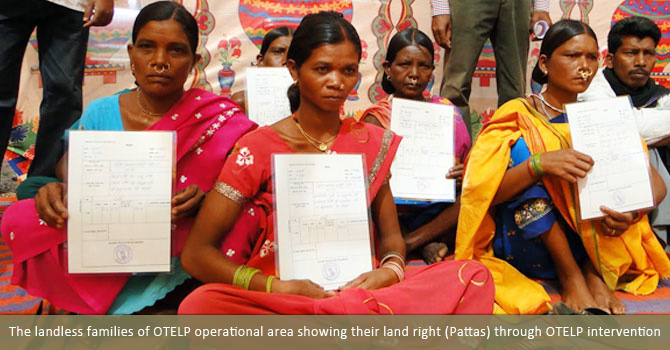 The landless families of OTELP operational area showing their land right (Pattas) through OTELP intervention