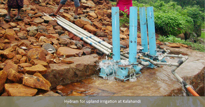 Hydram for upland irrigation at Kalahandi