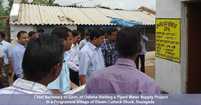 Chief Secretary to Govt. of Odisha visiting a piped water supply project in a programme village of Bisam Cuttack Block, Rayagada