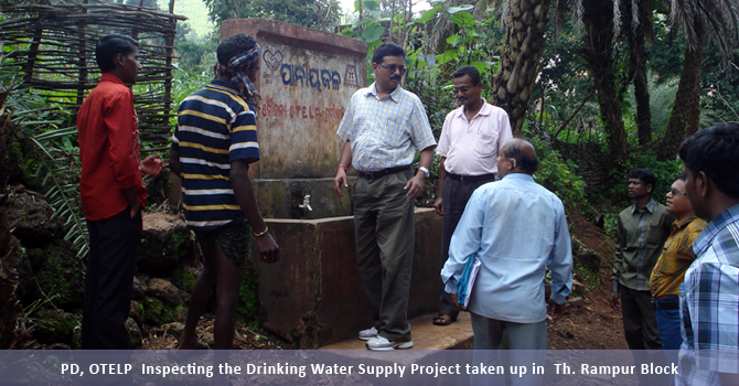 PD, OTELP  inspecting the drinking water Supply Project taken up in  ThuamilRampur block