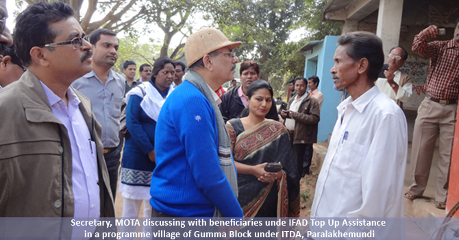 Secretary, MoTA discussing with beneficiaries unde IFAD Top Up Assistance in a programme village of Gumma Block under ITDA, Paralakhemundi