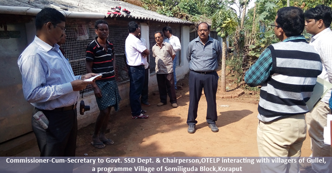 Commissioner-Cum-Secretary to Govt. SSD Dept. & Chairperson,OTELP interacting with villagers of Gullel, a programme Village of Semiliguda Block,Koraput